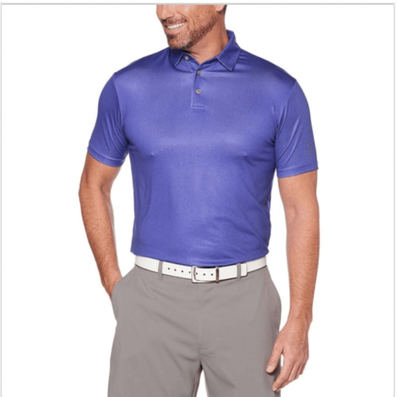 PGA TOUR Mens Short Sleeve Motionflux Herringbone Polo Shirt